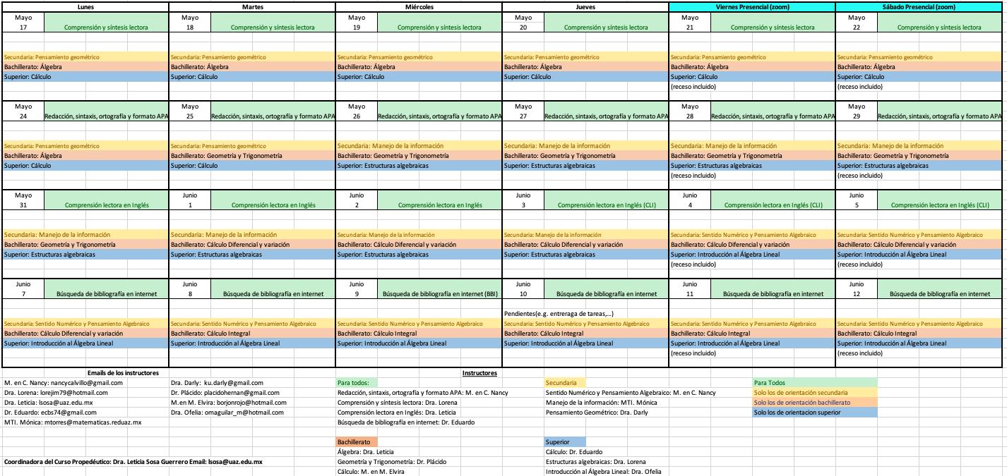Calendario de propedéutico